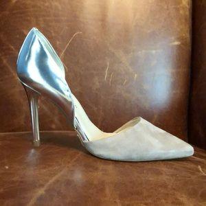 Karen Miller nude suade and silver heel